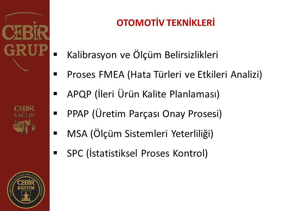 OTOMOTİV TEKNİKLERİ  Kalibrasyon ve Ölçüm Belirsizlikleri  Proses FMEA (Hata Türleri ve Etkileri Analizi)  APQP (İleri Ürün Kalite Planlaması)  PP
