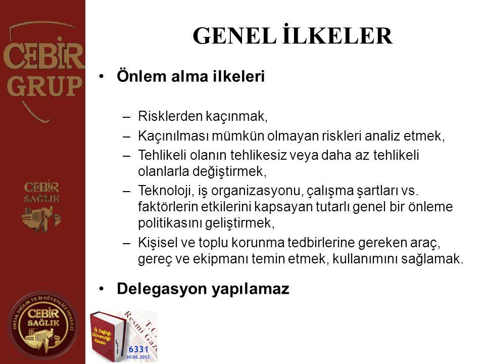 GENEL İLKELER •Önlem alma ilkeleri –Risklerden kaçınmak, –Kaçınılması mümkün olmayan riskleri analiz etmek, –Tehlikeli olanın tehlikesiz veya daha az