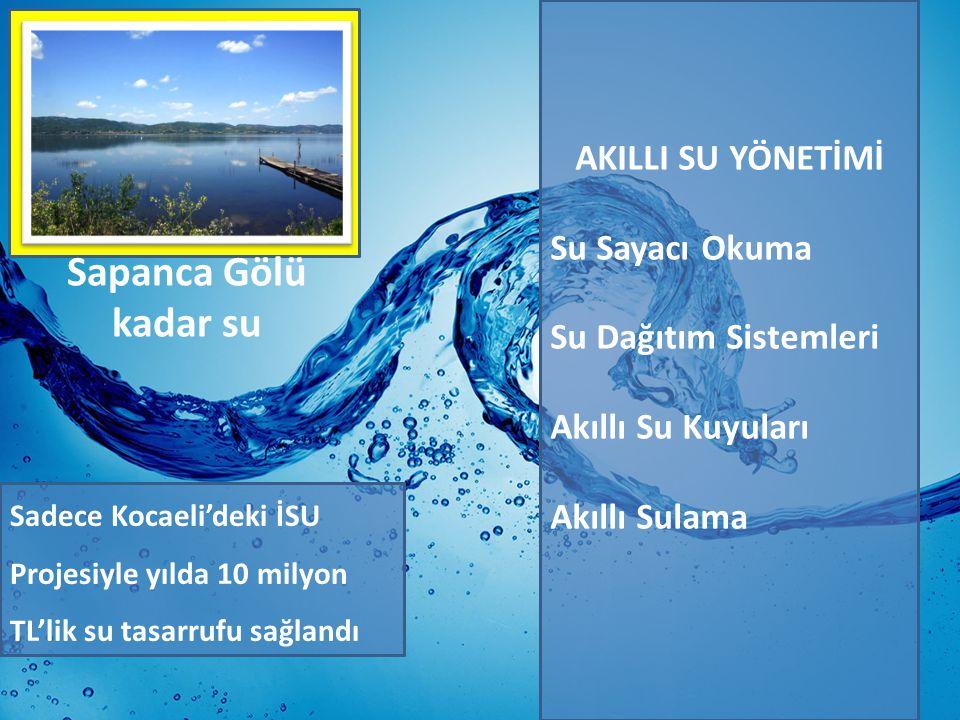 AKILLI SU YÖNETİMİ Su Sayacı Okuma Su Dağıtım Sistemleri Akıllı Su Kuyuları Akıllı Sulama Sadece Kocaeli'deki İSU Projesiyle yılda 10 milyon TL'lik su