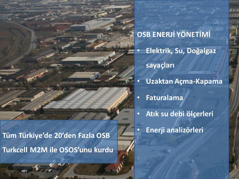 OSB ENERJİ YÖNETİMİ • Elektrik, Su, Doğalgaz sayaçları • Uzaktan Açma-Kapama • Faturalama • Atık su debi ölçerleri • Enerji analizörleri Tüm Türkiye'd