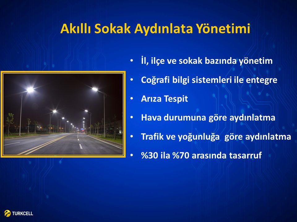 Akıllı Sokak Aydınlata Yönetimi • İl, ilçe ve sokak bazında yönetim • Coğrafi bilgi sistemleri ile entegre • Arıza Tespit • Hava durumuna göre aydınla