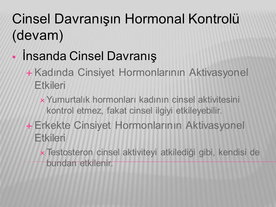 Cinsel Davranışın Hormonal Kontrolü (devam)  İnsanda Cinsel Davranış  Kadında Cinsiyet Hormonlarının Aktivasyonel Etkileri  Yumurtalık hormonları k