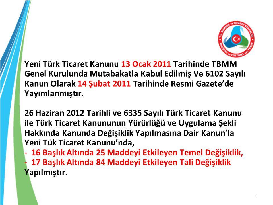 Yeni Türk Ticaret Kanunu 13 Ocak 2011 Tarihinde TBMM Genel Kurulunda Mutabakatla Kabul Edilmiş Ve 6102 Sayılı Kanun Olarak 14 Şubat 2011 Tarihinde Res