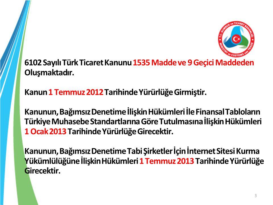 6102 Sayılı Türk Ticaret Kanunu 1535 Madde ve 9 Geçici Maddeden Oluşmaktadır. Kanun 1 Temmuz 2012 Tarihinde Yürürlüğe Girmiştir. Kanunun, Bağımsız Den