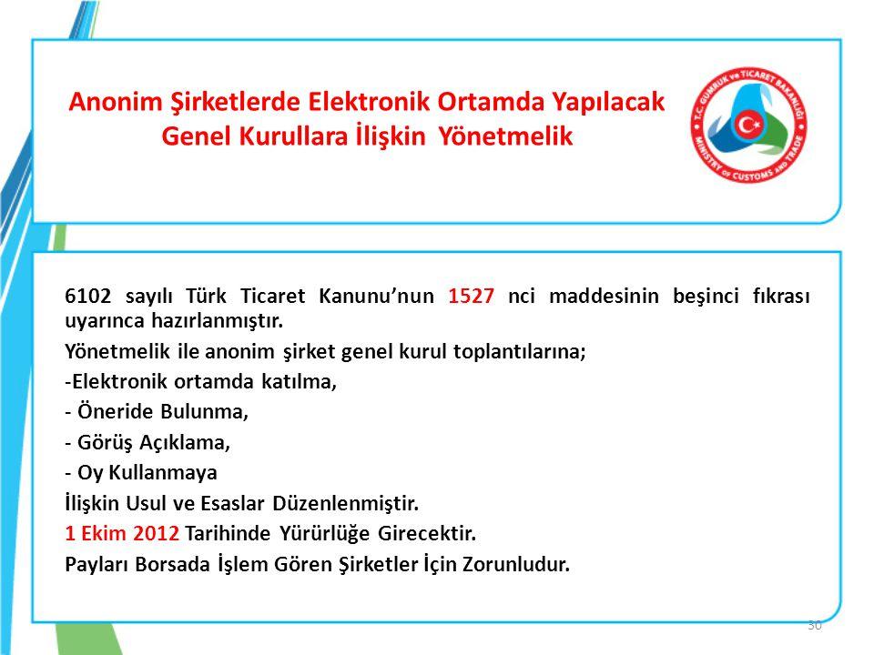 Anonim Şirketlerde Elektronik Ortamda Yapılacak Genel Kurullara İlişkin Yönetmelik 6102 sayılı Türk Ticaret Kanunu'nun 1527 nci maddesinin beşinci fık
