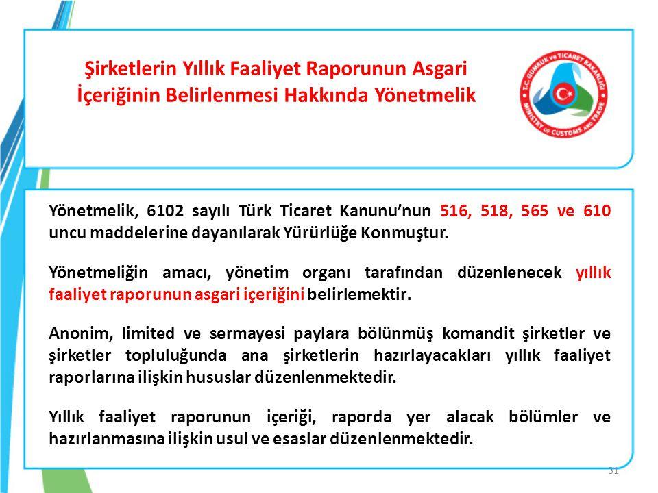 Şirketlerin Yıllık Faaliyet Raporunun Asgari İçeriğinin Belirlenmesi Hakkında Yönetmelik Yönetmelik, 6102 sayılı Türk Ticaret Kanunu'nun 516, 518, 565