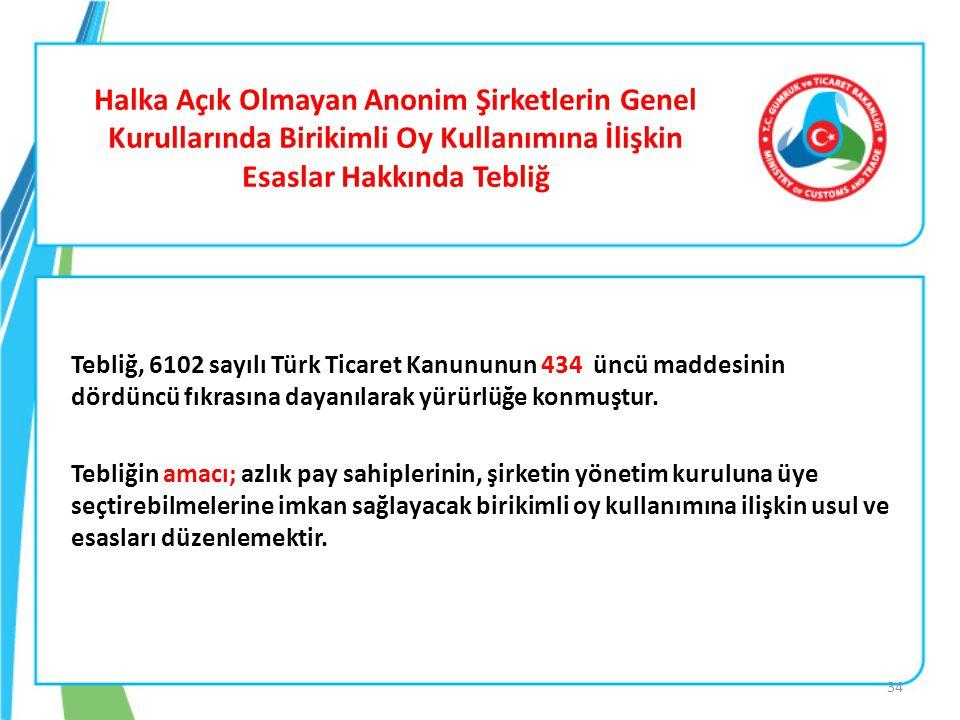 Halka Açık Olmayan Anonim Şirketlerin Genel Kurullarında Birikimli Oy Kullanımına İlişkin Esaslar Hakkında Tebliğ Tebliğ, 6102 sayılı Türk Ticaret Kan