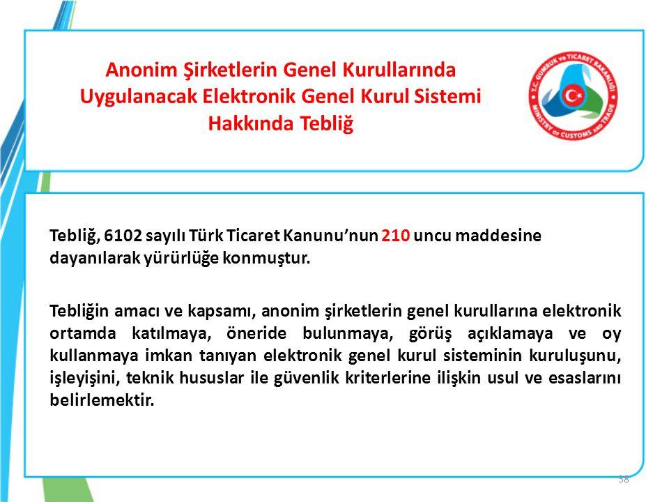 Anonim Şirketlerin Genel Kurullarında Uygulanacak Elektronik Genel Kurul Sistemi Hakkında Tebliğ Tebliğ, 6102 sayılı Türk Ticaret Kanunu'nun 210 uncu
