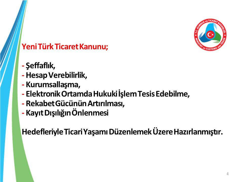 Yeni Türk Ticaret Kanunu; - Şeffaflık, - Hesap Verebilirlik, - Kurumsallaşma, - Elektronik Ortamda Hukuki İşlem Tesis Edebilme, - Rekabet Gücünün Artı