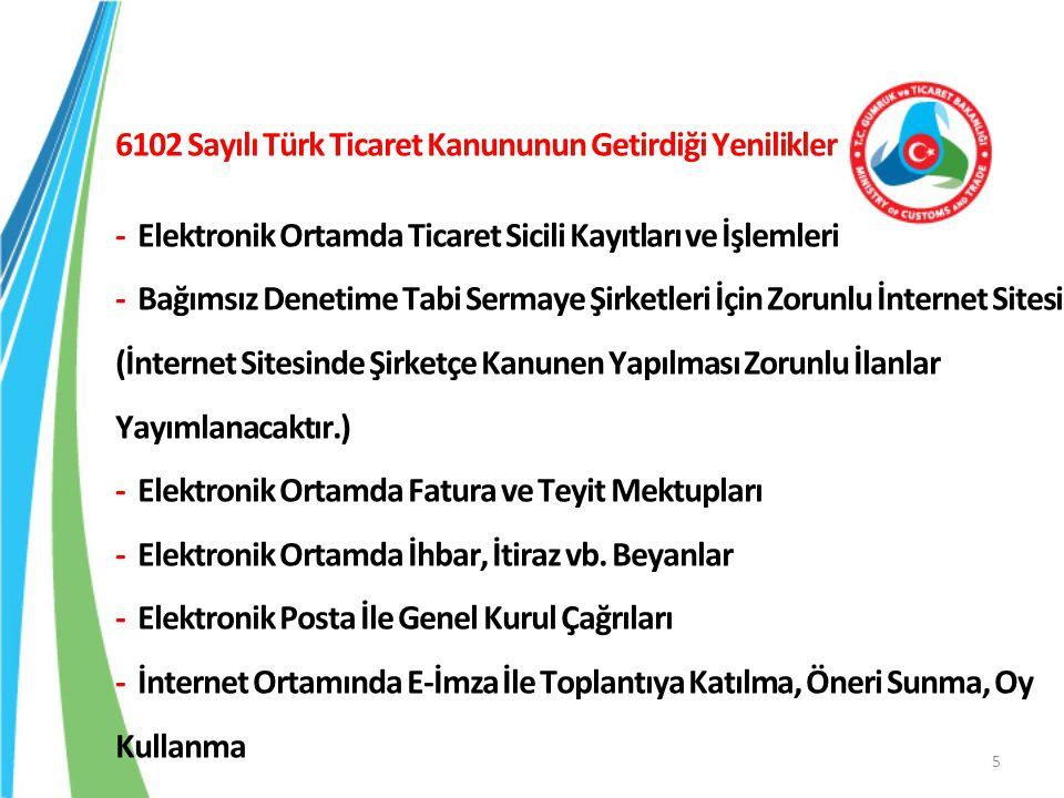 6102 Sayılı Türk Ticaret Kanununun Getirdiği Yenilikler - Elektronik Ortamda Ticaret Sicili Kayıtları ve İşlemleri - Bağımsız Denetime Tabi Sermaye Şi