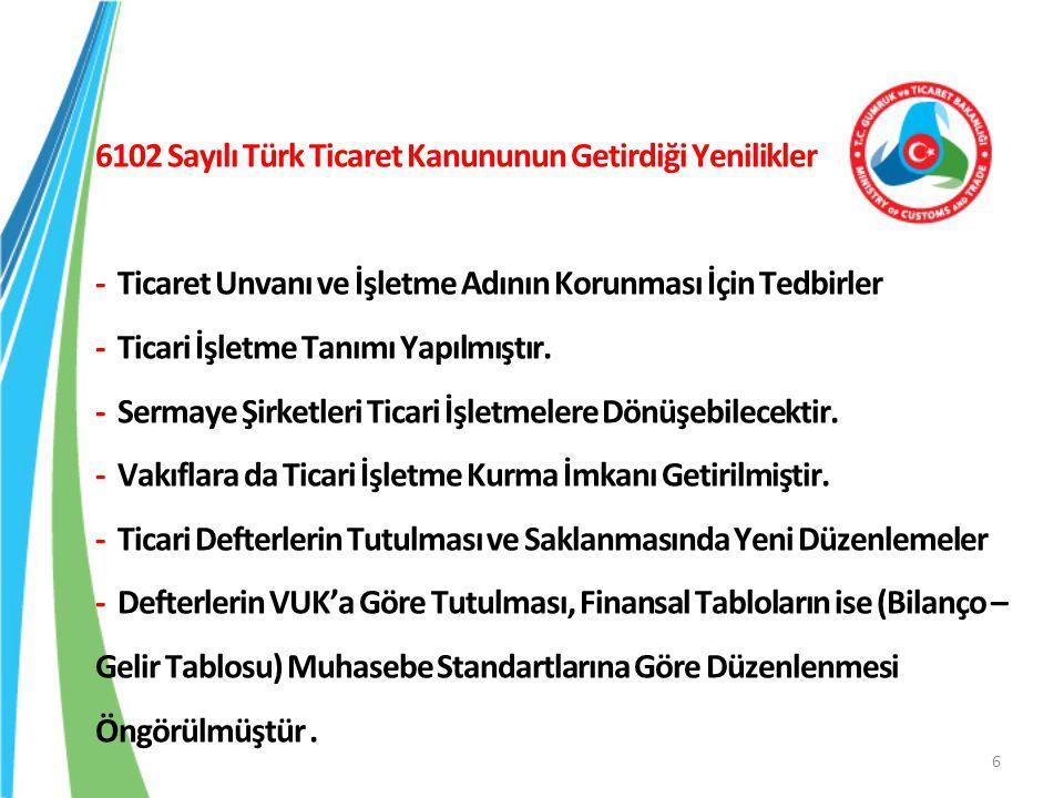 6102 Sayılı Türk Ticaret Kanununun Getirdiği Yenilikler - Ticaret Unvanı ve İşletme Adının Korunması İçin Tedbirler - Ticari İşletme Tanımı Yapılmıştı