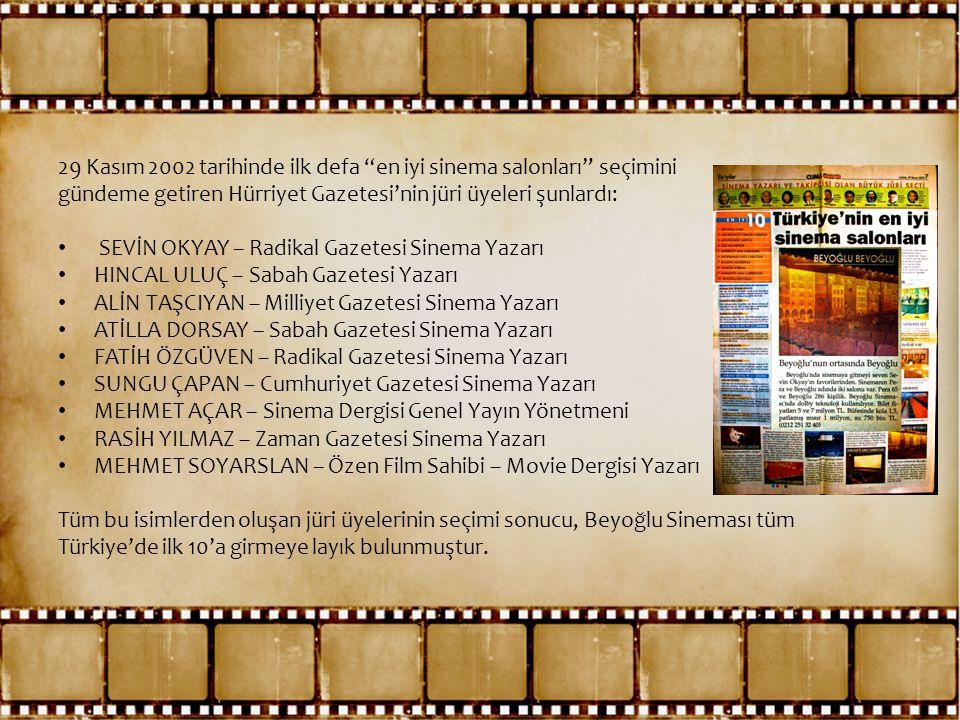 """29 Kasım 2002 tarihinde ilk defa """"en iyi sinema salonları"""" seçimini gündeme getiren Hürriyet Gazetesi'nin jüri üyeleri şunlardı: • SEVİN OKYAY – Radik"""