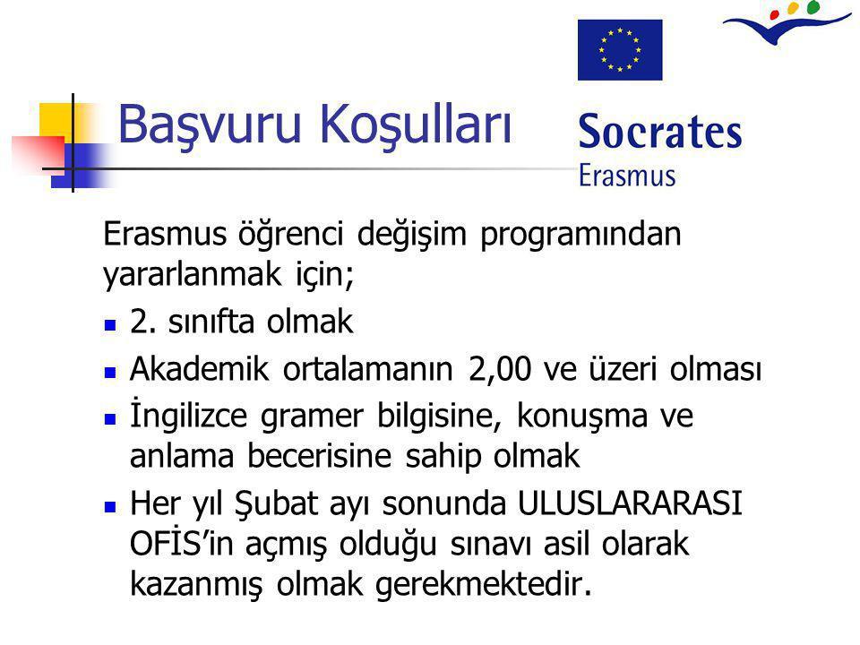 Başvuru Koşulları Erasmus öğrenci değişim programından yararlanmak için;  2. sınıfta olmak  Akademik ortalamanın 2,00 ve üzeri olması  İngilizce gr