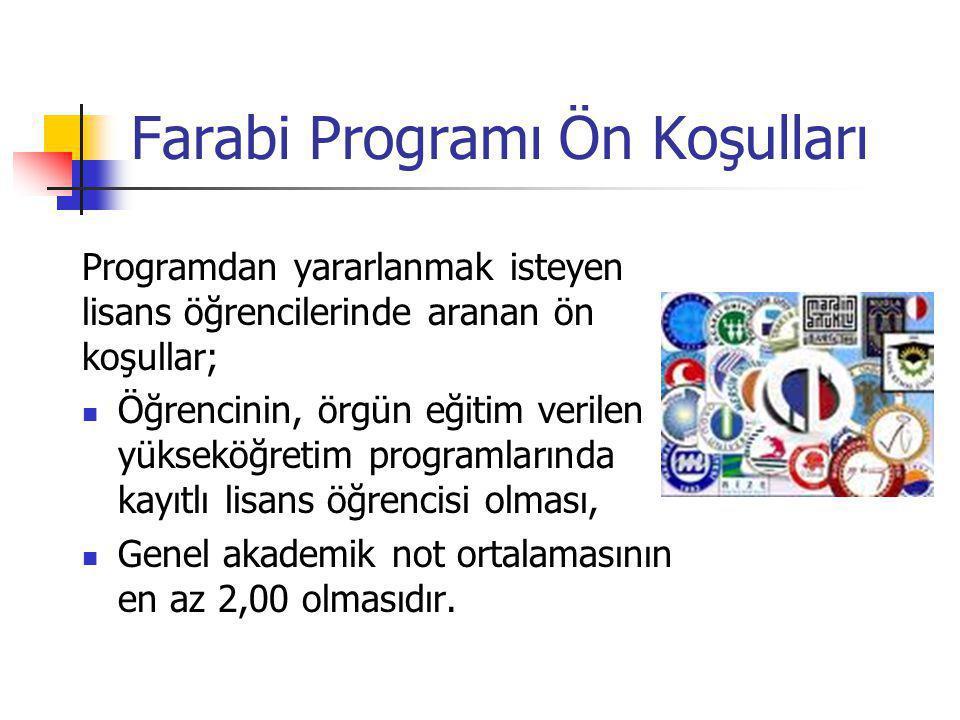 Farabi Programı Ön Koşulları Programdan yararlanmak isteyen lisans öğrencilerinde aranan ön koşullar;  Öğrencinin, örgün eğitim verilen yükseköğretim
