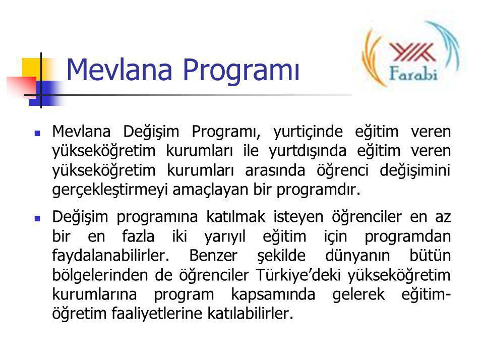 Mevlana Programı  Mevlana Değişim Programı, yurtiçinde eğitim veren yükseköğretim kurumları ile yurtdışında eğitim veren yükseköğretim kurumları aras