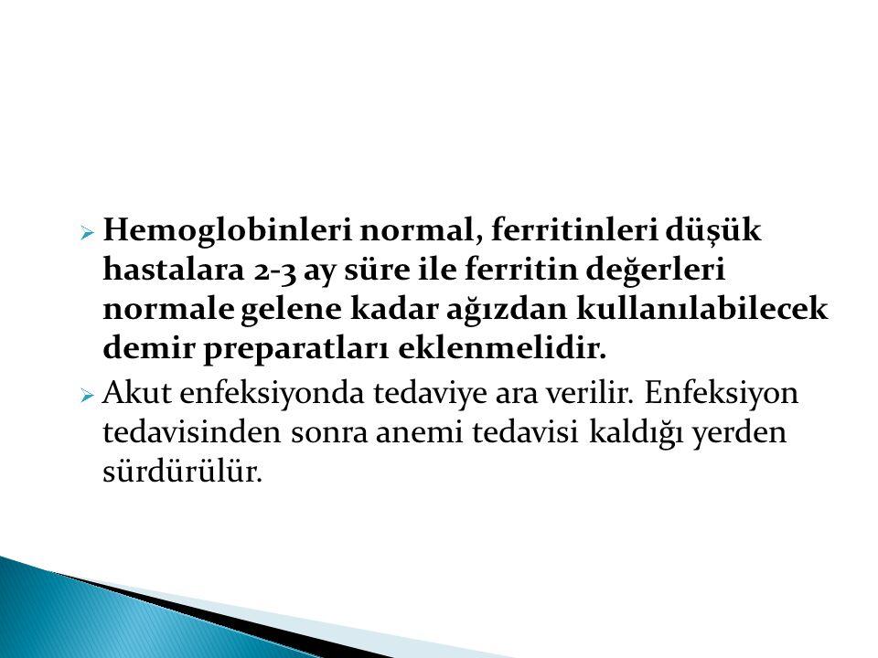  Hemoglobinleri normal, ferritinleri düşük hastalara 2-3 ay süre ile ferritin değerleri normale gelene kadar ağızdan kullanılabilecek demir preparatl
