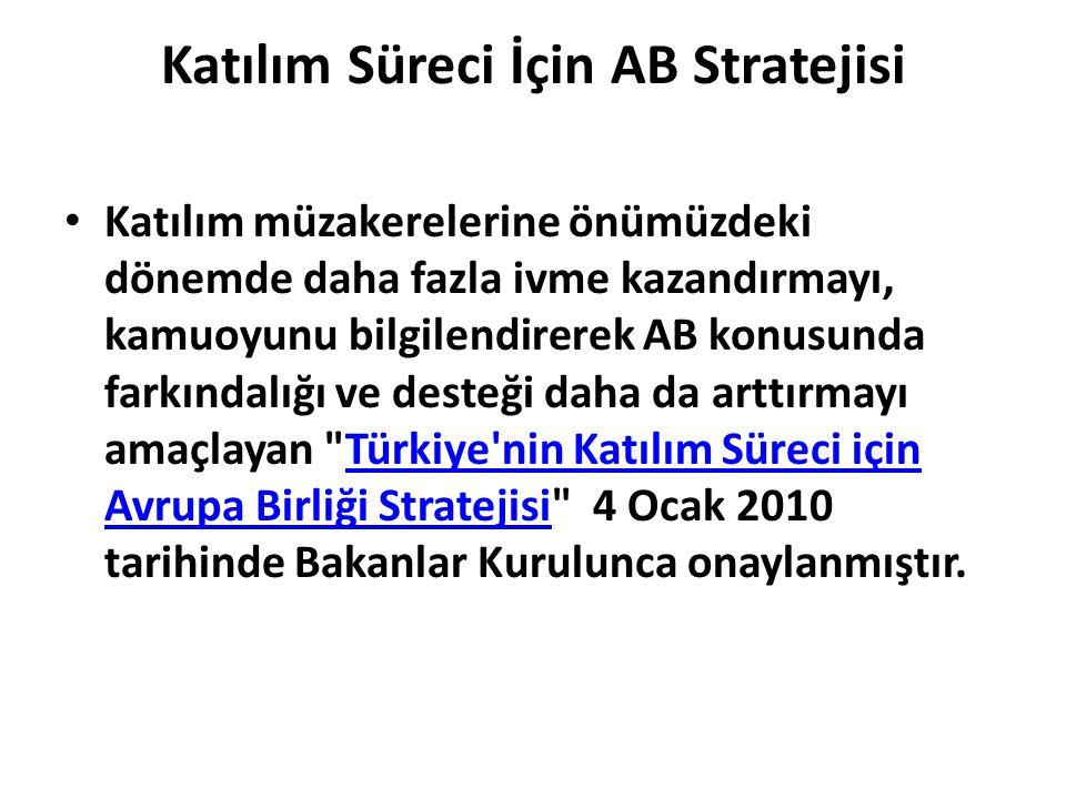 Katılım Süreci İçin AB Stratejisi • Katılım müzakerelerine önümüzdeki dönemde daha fazla ivme kazandırmayı, kamuoyunu bilgilendirerek AB konusunda far