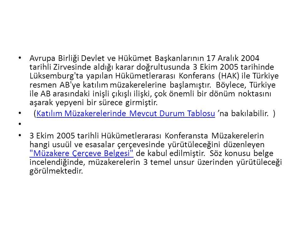 • Avrupa Birliği Devlet ve Hükümet Başkanlarının 17 Aralık 2004 tarihli Zirvesinde aldığı karar doğrultusunda 3 Ekim 2005 tarihinde Lüksemburg'ta yapı