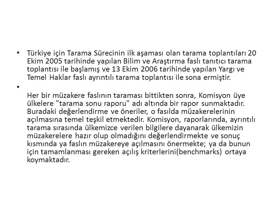 • Türkiye için Tarama Sürecinin ilk aşaması olan tarama toplantıları 20 Ekim 2005 tarihinde yapılan Bilim ve Araştırma faslı tanıtıcı tarama toplantıs