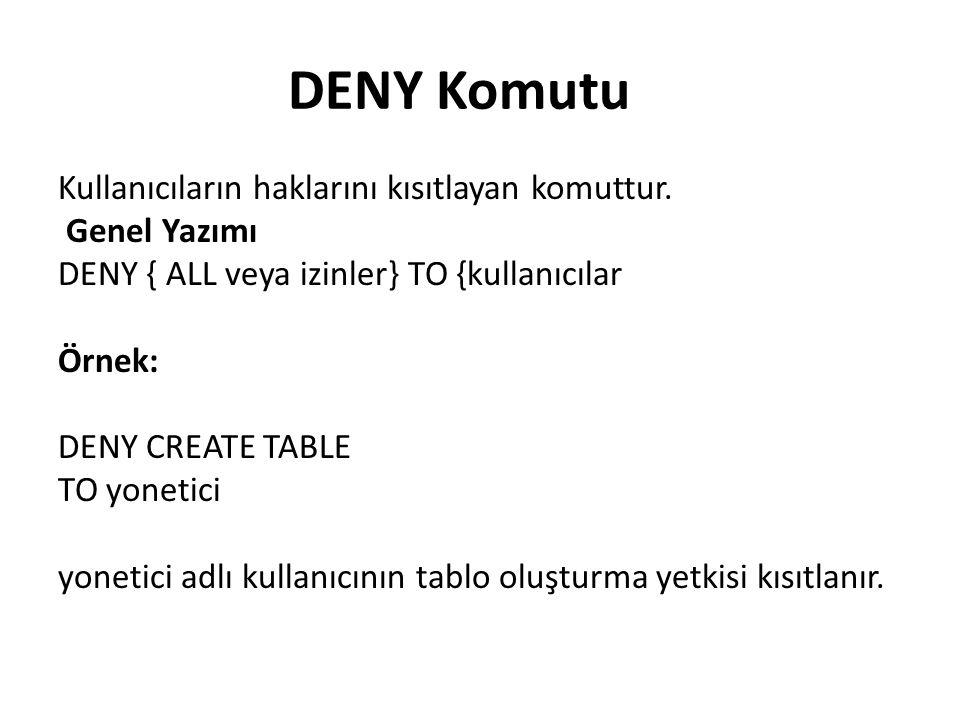 DENY Komutu Kullanıcıların haklarını kısıtlayan komuttur.