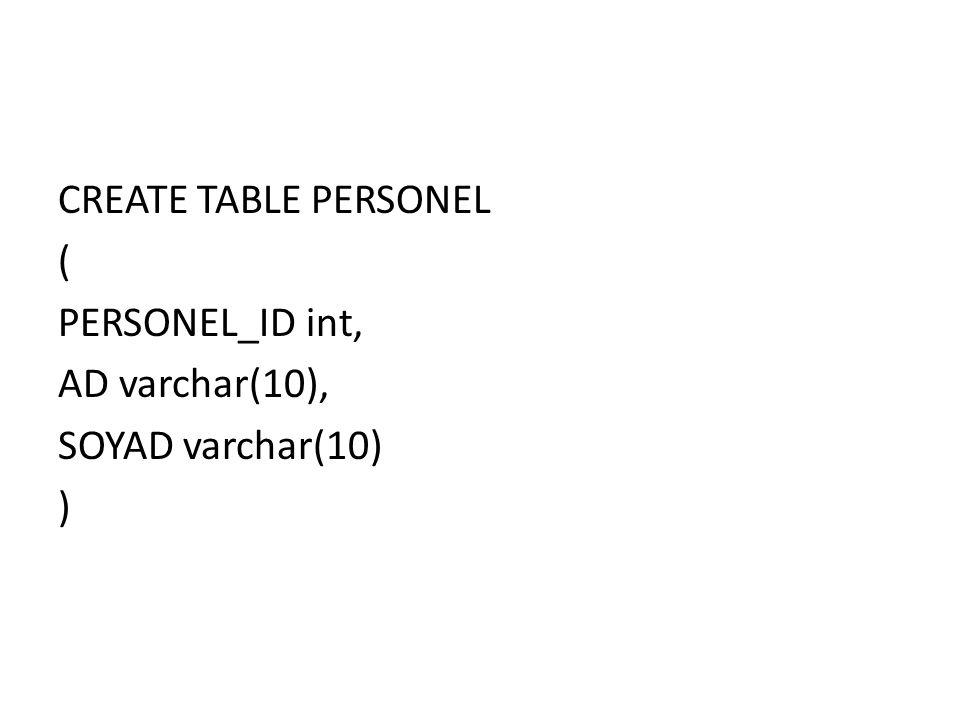 PERSONEL tablosunda yonetici adlı kullanıcı SELECT komutuyla ilgili işlem yapamaz.