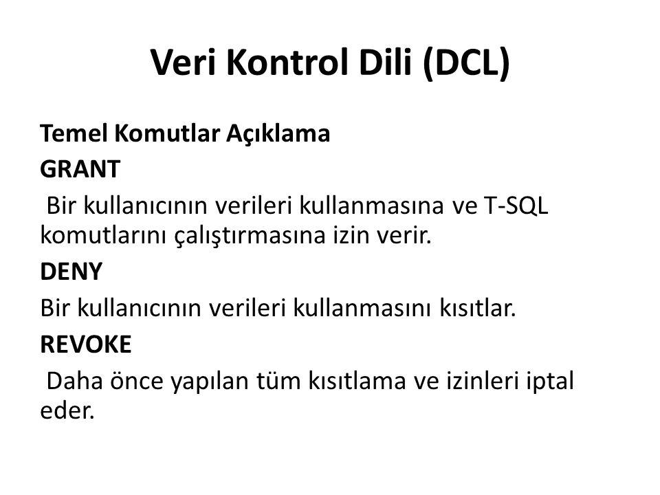 Veri Kontrol Dili (DCL) Temel Komutlar Açıklama GRANT Bir kullanıcının verileri kullanmasına ve T-SQL komutlarını çalıştırmasına izin verir.