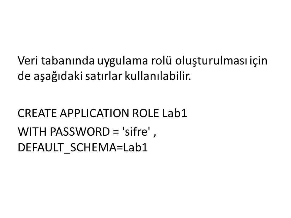 Veri tabanında uygulama rolü oluşturulması için de aşağıdaki satırlar kullanılabilir.