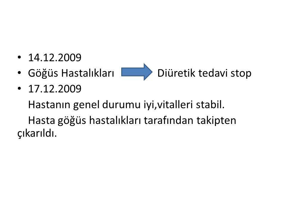 • 14.12.2009 • Göğüs Hastalıkları Diüretik tedavi stop • 17.12.2009 Hastanın genel durumu iyi,vitalleri stabil. Hasta göğüs hastalıkları tarafından ta