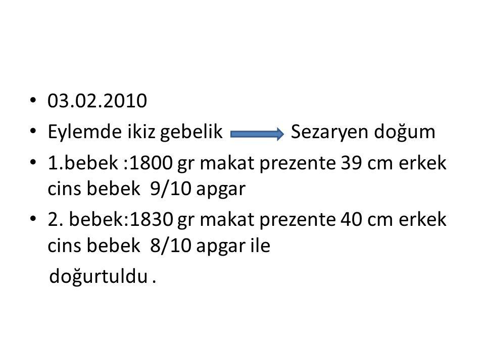 • 03.02.2010 • Eylemde ikiz gebelik Sezaryen doğum • 1.bebek :1800 gr makat prezente 39 cm erkek cins bebek 9/10 apgar • 2. bebek:1830 gr makat prezen