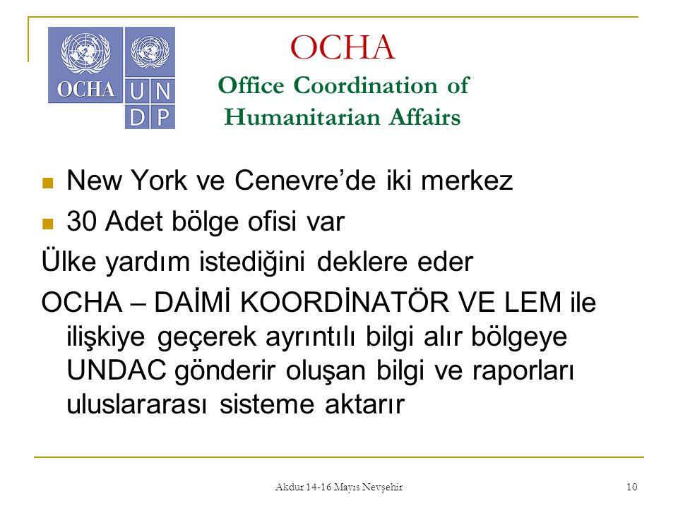 Akdur 14-16 Mayıs Nevşehir 10 OCHA Office Coordination of Humanitarian Affairs  New York ve Cenevre'de iki merkez  30 Adet bölge ofisi var Ülke yard