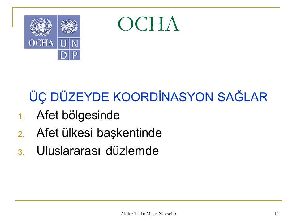 Akdur 14-16 Mayıs Nevşehir 11 OCHA ÜÇ DÜZEYDE KOORDİNASYON SAĞLAR 1. Afet bölgesinde 2. Afet ülkesi başkentinde 3. Uluslararası düzlemde