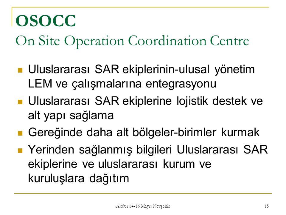 Akdur 14-16 Mayıs Nevşehir 15 OSOCC On Site Operation Coordination Centre  Uluslararası SAR ekiplerinin-ulusal yönetim LEM ve çalışmalarına entegrasy