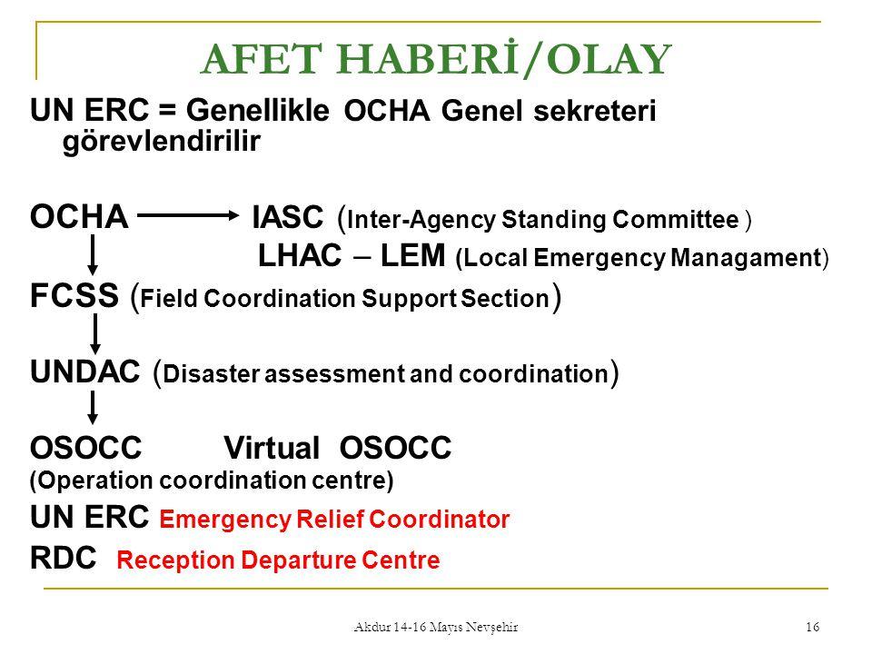 Akdur 14-16 Mayıs Nevşehir 16 AFET HABERİ/OLAY UN ERC = Genellikle OCHA Genel sekreteri görevlendirilir OCHA IASC ( Inter-Agency Standing Committee )