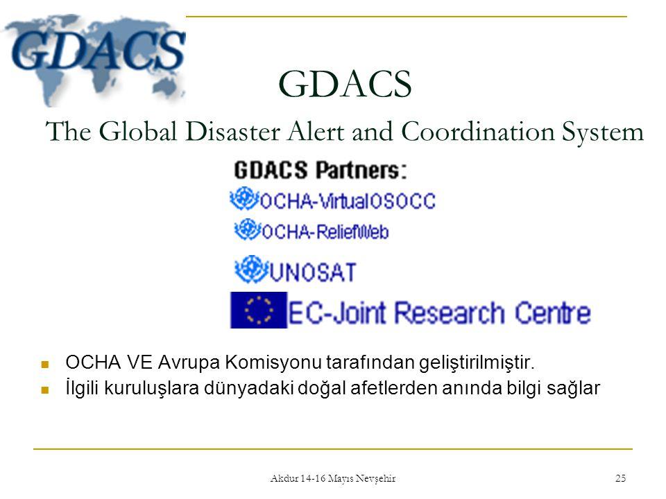 Akdur 14-16 Mayıs Nevşehir 25 GDACS The Global Disaster Alert and Coordination System  OCHA VE Avrupa Komisyonu tarafından geliştirilmiştir.  İlgili