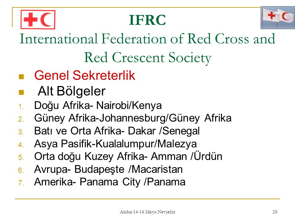 Akdur 14-16 Mayıs Nevşehir 28 IFRC International Federation of Red Cross and Red Crescent Society  Genel Sekreterlik  Alt Bölgeler 1. Doğu Afrika- N