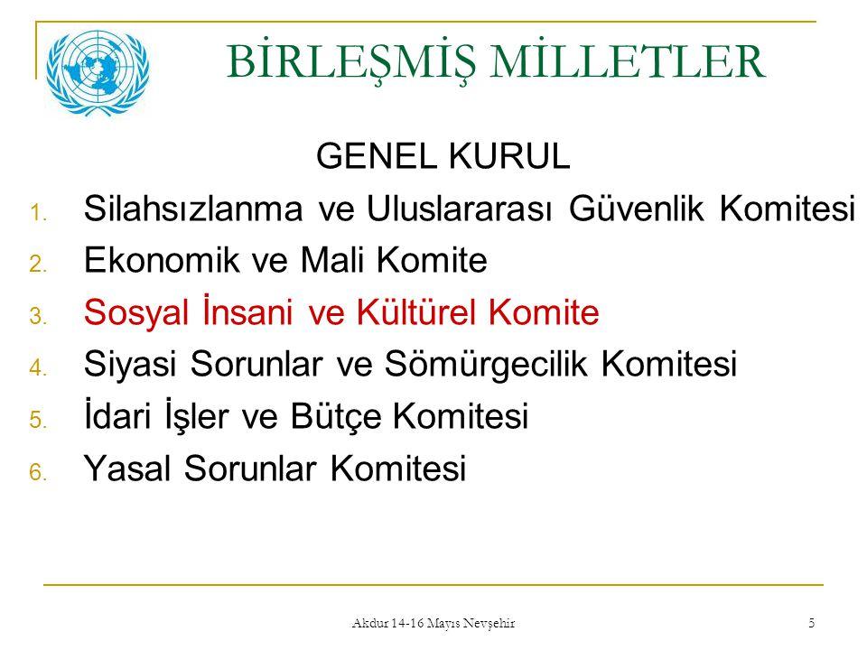 Akdur 14-16 Mayıs Nevşehir 5 BİRLEŞMİŞ MİLLETLER GENEL KURUL 1. Silahsızlanma ve Uluslararası Güvenlik Komitesi 2. Ekonomik ve Mali Komite 3. Sosyal İ