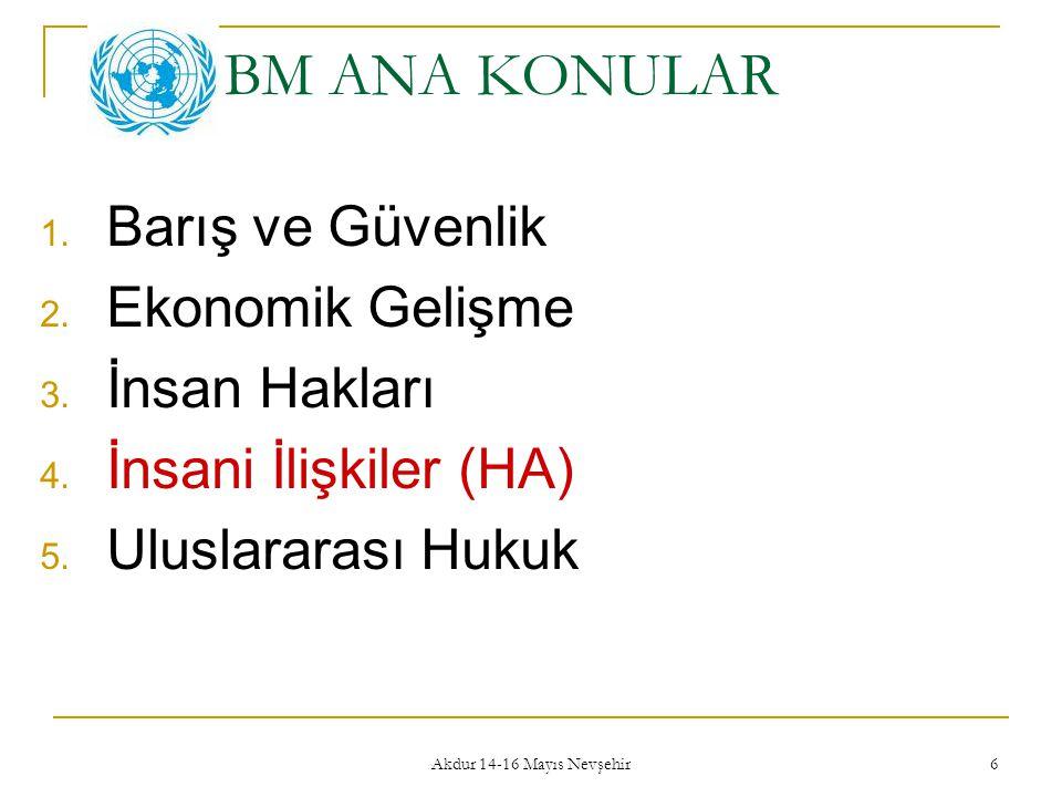 Akdur 14-16 Mayıs Nevşehir 6 BM ANA KONULAR 1. Barış ve Güvenlik 2. Ekonomik Gelişme 3. İnsan Hakları 4. İnsani İlişkiler (HA) 5. Uluslararası Hukuk
