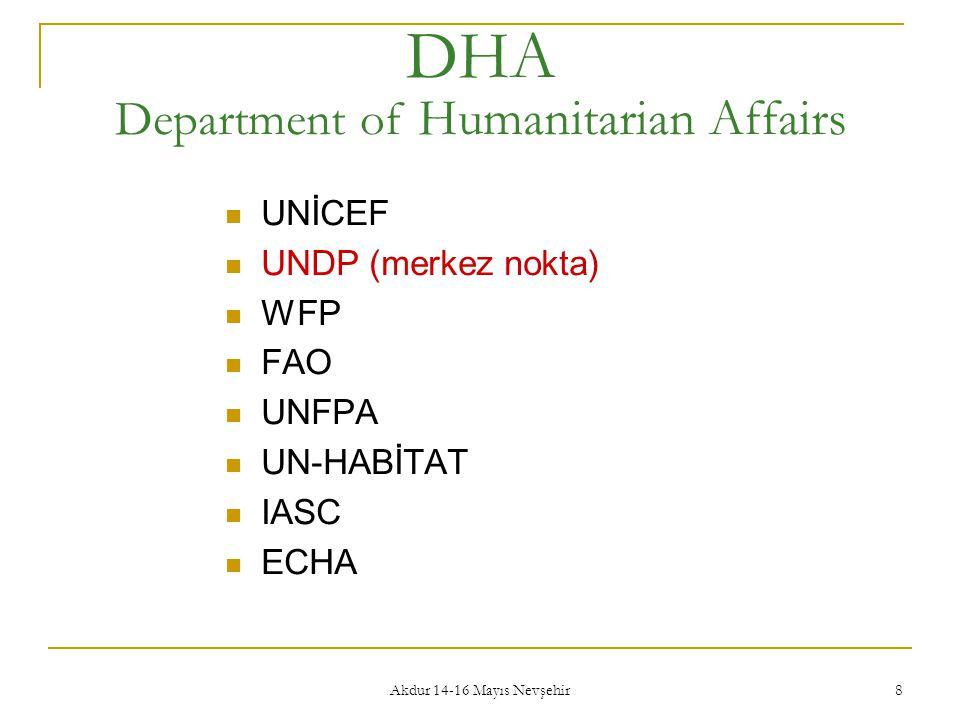 Akdur 14-16 Mayıs Nevşehir 8 DHA Department of Humanitarian Affairs  UNİCEF  UNDP (merkez nokta)  WFP  FAO  UNFPA  UN-HABİTAT  IASC  ECHA
