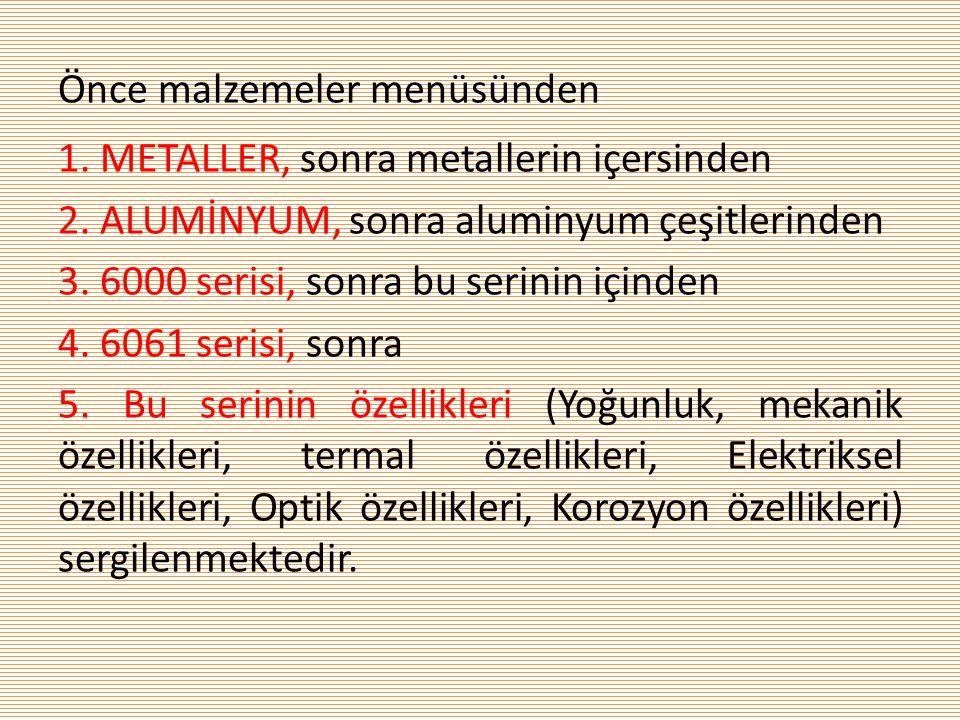 Önce malzemeler menüsünden 1. METALLER, sonra metallerin içersinden 2. ALUMİNYUM, sonra aluminyum çeşitlerinden 3. 6000 serisi, sonra bu serinin içind
