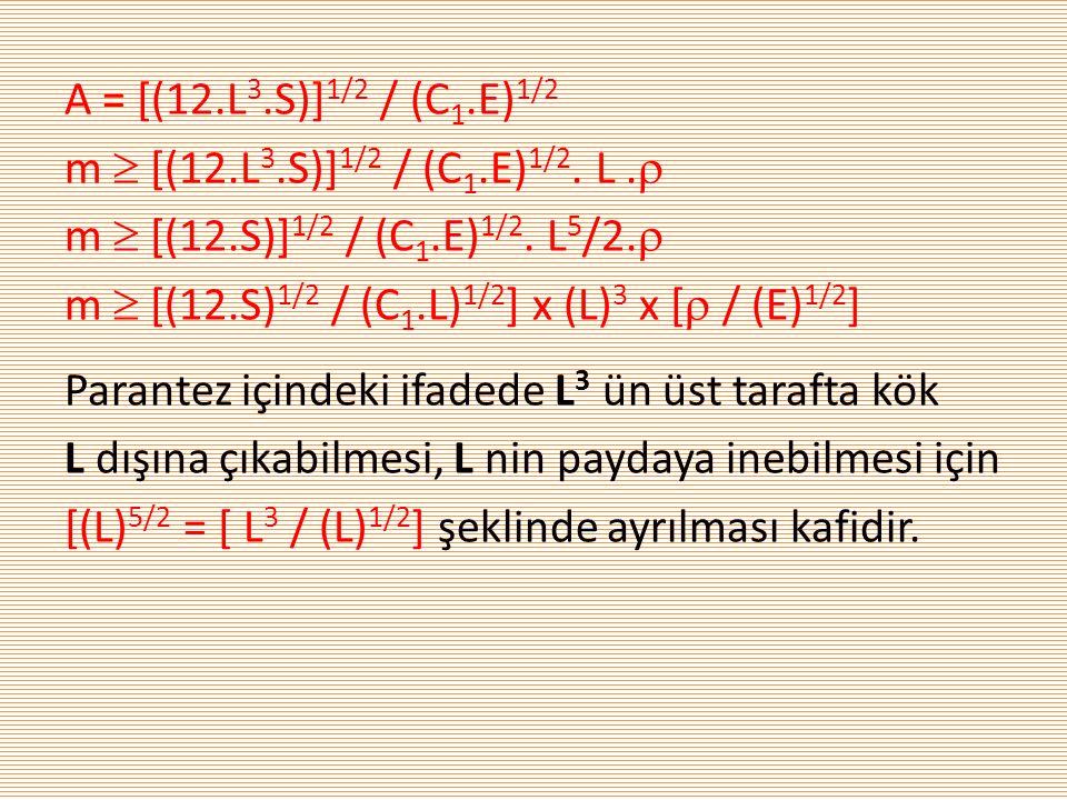 A = [(12.L 3.S)] 1/2 / (C 1.E) 1/2 m  [(12.L 3.S)] 1/2 / (C 1.E) 1/2. L.  m  [(12.S)] 1/2 / (C 1.E) 1/2. L 5 /2.  m  [(12.S) 1/2 / (C 1.L) 1/2 ]
