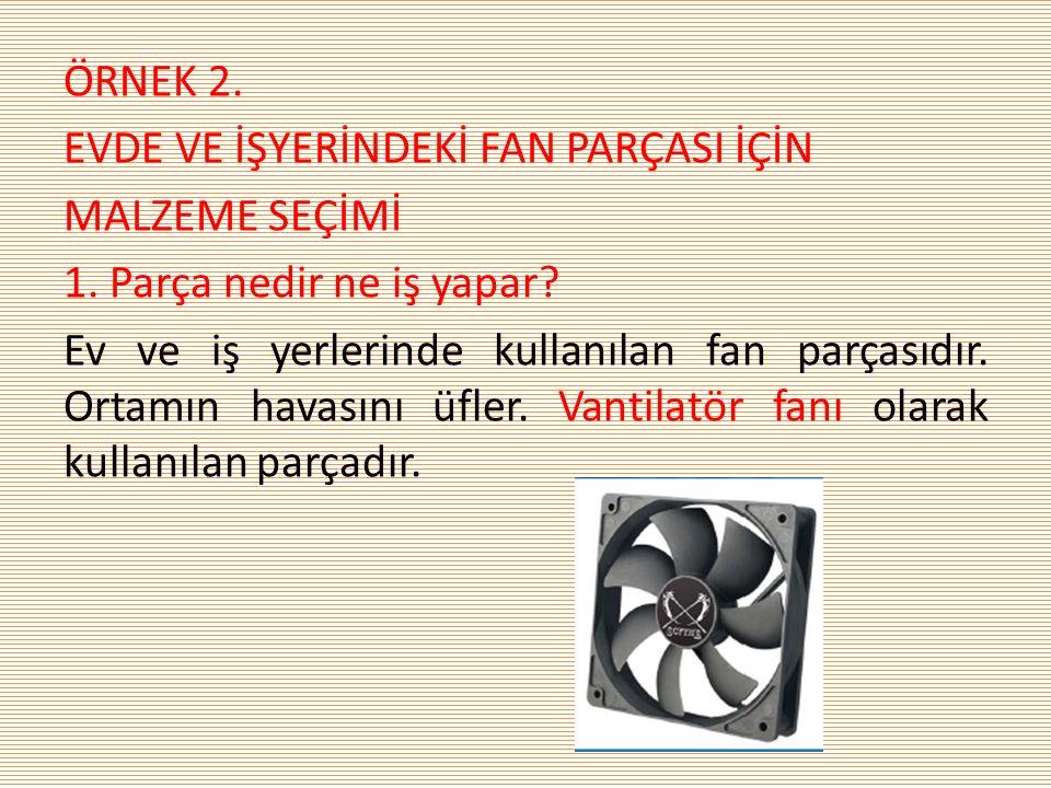 ÖRNEK 2. EVDE VE İŞYERİNDEKİ FAN PARÇASI İÇİN MALZEME SEÇİMİ 1. Parça nedir ne iş yapar? Ev ve iş yerlerinde kullanılan fan parçasıdır. Ortamın havası