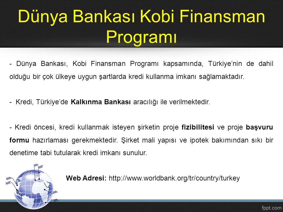 Dünya Bankası Kobi Finansman Programı - Dünya Bankası, Kobi Finansman Programı kapsamında, Türkiye'nin de dahil olduğu bir çok ülkeye uygun şartlarda