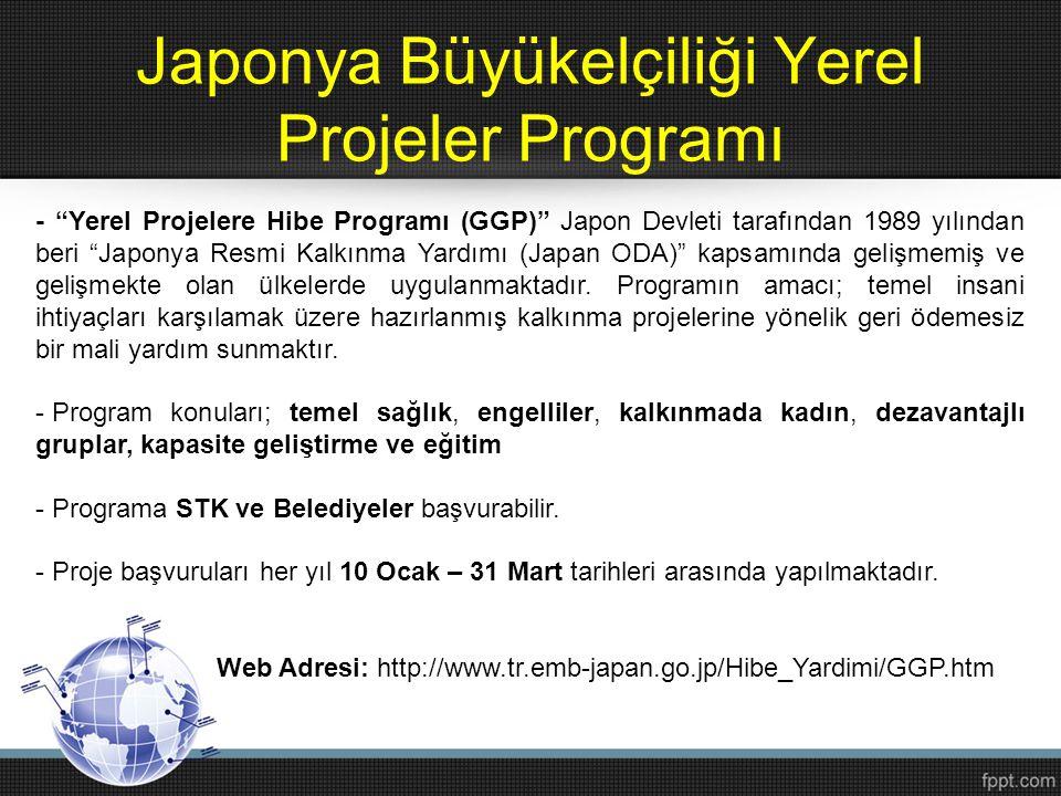 """Japonya Büyükelçiliği Yerel Projeler Programı - """"Yerel Projelere Hibe Programı (GGP)"""" Japon Devleti tarafından 1989 yılından beri """"Japonya Resmi Kalkı"""