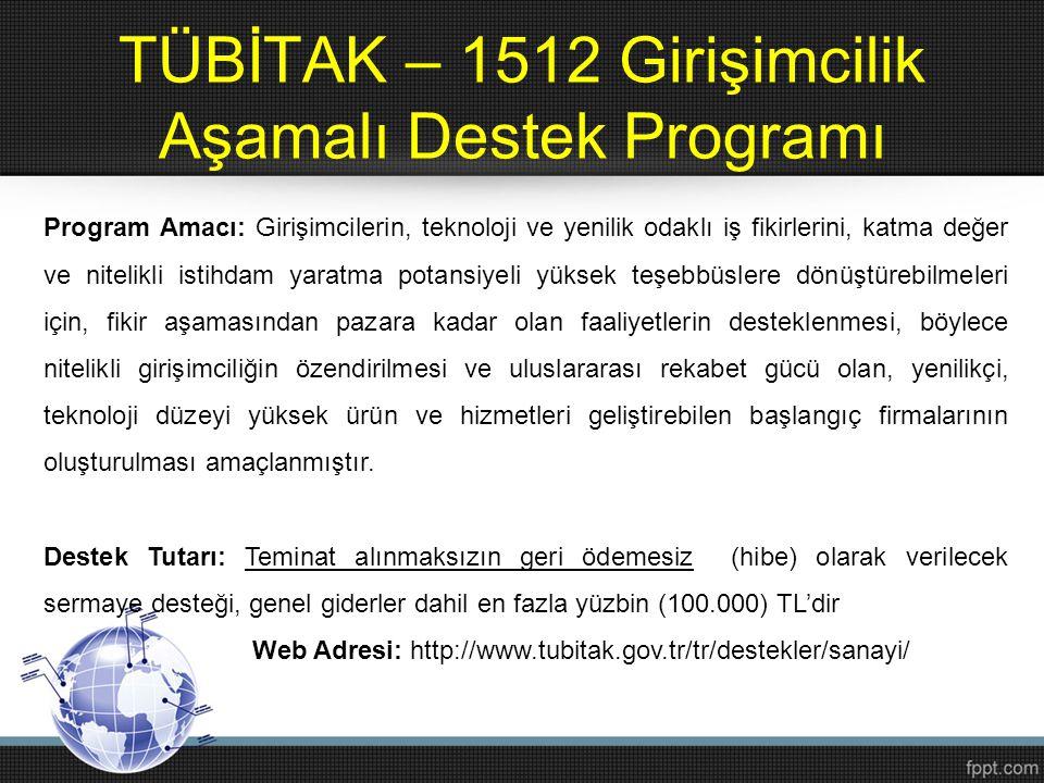 TÜBİTAK – 1512 Girişimcilik Aşamalı Destek Programı Program Amacı: Girişimcilerin, teknoloji ve yenilik odaklı iş fikirlerini, katma değer ve nitelikl
