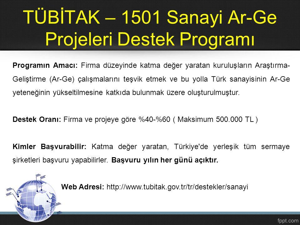 TÜBİTAK – 1501 Sanayi Ar-Ge Projeleri Destek Programı Programın Amacı: Firma düzeyinde katma değer yaratan kuruluşların Araştırma- Geliştirme (Ar-Ge)