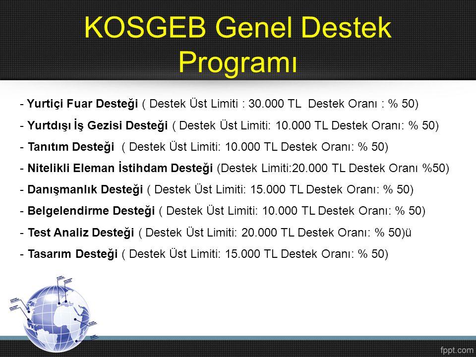 KOSGEB Genel Destek Programı - Yurtiçi Fuar Desteği ( Destek Üst Limiti : 30.000 TL Destek Oranı : % 50) - Yurtdışı İş Gezisi Desteği ( Destek Üst Lim