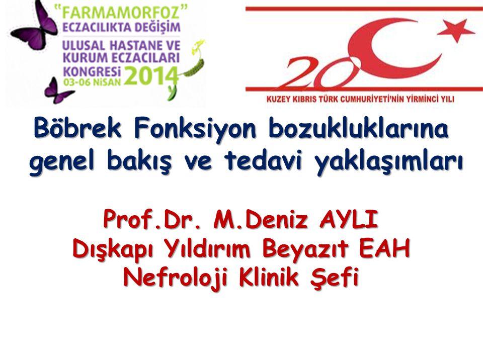 Böbrek Fonksiyon bozukluklarına genel bakış ve tedavi yaklaşımları genel bakış ve tedavi yaklaşımları Prof.Dr.