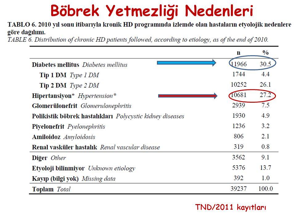 TND/2011 kayıtları Böbrek Yetmezliği Nedenleri