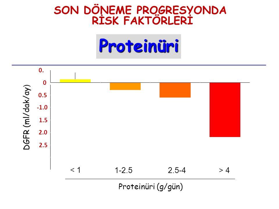 -3.5 -3.0 -2.5 -2.0 -1.5 -0.5 0 0.5 DGFR (ml/dak/ay ) Remuzzi NEJM, 1998 < 1 1-2.52.5-4> 4 Proteinüri (g/gün) SON DÖNEME PROGRESYONDA RİSK FAKTÖRLERİ Proteinüri