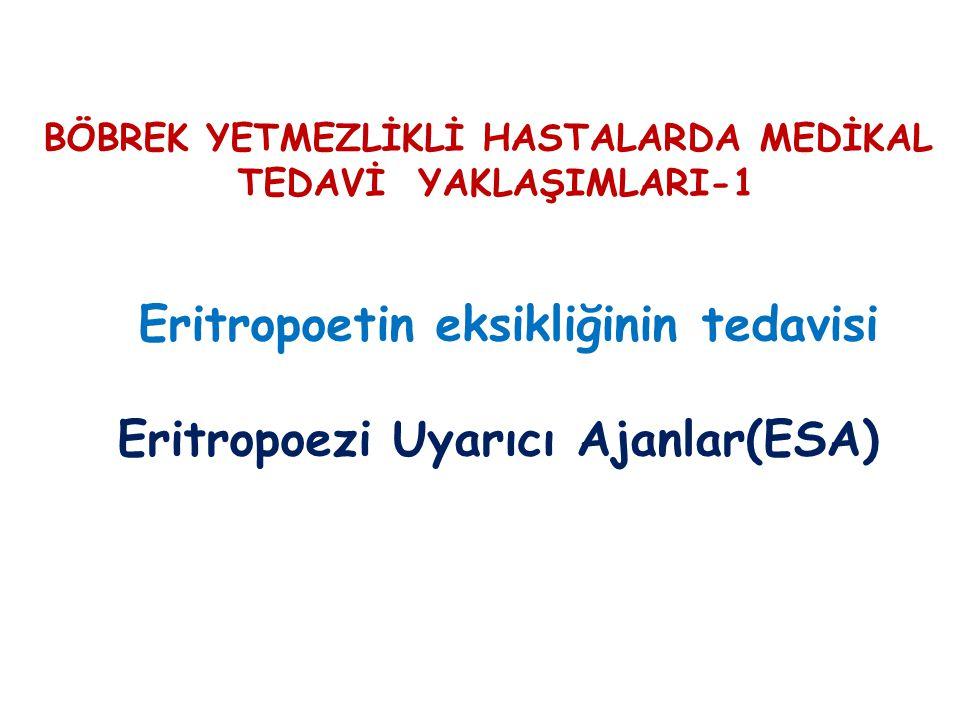 BÖBREK YETMEZLİKLİ HASTALARDA MEDİKAL TEDAVİ YAKLAŞIMLARI-1 Eritropoetin eksikliğinin tedavisi Eritropoezi Uyarıcı Ajanlar(ESA)